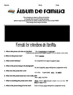 Album de familia  (The black box really has the requirements listed.  Not sure why TpT blacked it out on the thumbnail.)