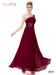 Elegant One Shoulder Deep Red Long Evening Dress #cranberry #bridesmaids