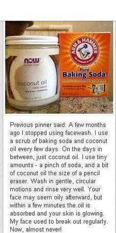 I use this on my face every night and I haven't had such clear skin before!  I do use the baking soda and the coconut oil combined every night.