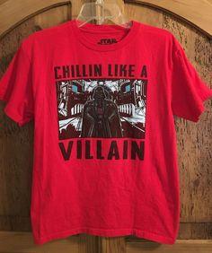 Star Wars Darth Vader CHILLIN LIKE A VILLAIN Red Graphic T-Shirt #Lucasfilm #TShirt #Everyday