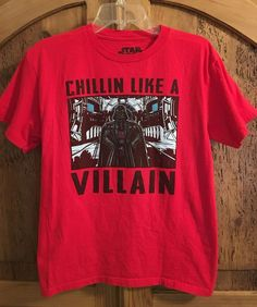 Star Wars Darth Vader CHILLIN LIKE A VILLAIN Red Graphic T-Shirt Size Youth XL #Lucasfilm #TShirt #Everyday