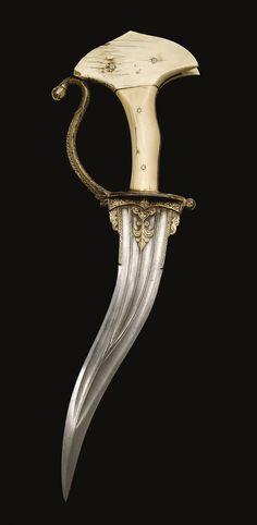 An ivory-hilted dagger (khanjarli), India, 18th century