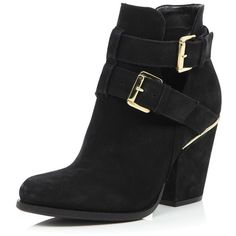 0c2f2152e87a River Island Black leather cut out buckle ankle boots ( 39) ❤ liked on  Polyvore