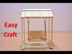 Art and Craft Ideas | How to Make Popsicle Stick or IceCream Stick Miniature Swing or Jhula - YouTube Popsicle Stick Boat, Popsicle Stick Crafts House, Craft Stick Crafts, Craft Ideas, Lolly Stick Craft, Plate Crafts, Pop Stick, Stick Art, Ice Cream Stick Craft