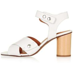 TopShop Nature Cross Strap Sandals (340 ILS) ❤ liked on Polyvore featuring shoes, sandals, leather strappy sandals, block heel sandals, peep toe sandals, strap high heel sandals and leather sandals