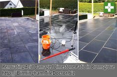 A local company in Bromsgrove were commissioned to lay a stunning and expensive Black Limestone patio for a customer who was renovating their property. Unfortunately, the company tried to clean the finished patio with brick acid, and because limestone is generally very porous and acid sensitive this discoloured the tiles to a rather unsightly, dull grey – a far cry from what their customer was expecting!