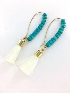 Cream Tassel and Turquoise Beaded Earrings, Long Turquoise Dangle Earrings, Statement Earrings, Bridesmaids Earrings, Gifts for Women