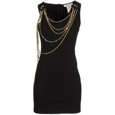 PIERRE BALMAIN Short dress ($315) ❤ liked on Polyvore featuring dresses, vestidos, short dresses, robe, black, black cocktail dresses, sleeveless dress, zipper dress and short black dresses