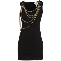 PIERRE BALMAIN Short dress ($315) ❤ liked on Polyvore featuring dresses, vestidos, short dresses, black dresses, black, zip dress, pierre balmain dress, mini dress and rayon dress