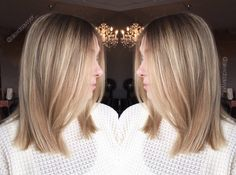 Blunt blonde mid length hair is perfect combo. Cut & color by Alexandria