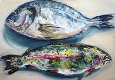 ARTFINDER: Trout & Bream by Michelle Parsons - A simple oil painting depicting two fish, trout and bream....