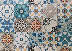 Gạch bông tổng hợp tông màu xanh dương