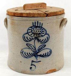 5 gallon Cobalt Decorated Blue Stoneware Crock