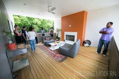 "194 Pearl Street on the Modern Atlanta Home Tour. 2,100 sq. ft. / 3 bed, 3 bath. Brian Ahern and Jeff Darby of Darby Construction. Covered ""all season"" roof deck on a modern house."