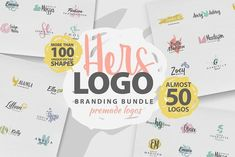 Logo creation kit for Her! We created the elements, premade logos to feel as feminine and as professional as possible! This kit is perfect if you need a logo Business Brochure, Business Card Logo, Logos Ideas, Site Website, Logo Creation, Vector Shapes, Creative Sketches, Pencil Illustration, Logo Templates