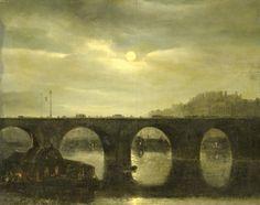 """ View of a Bridge over the Seine in Paris by Moonlight, 1835, Antonie Waldorp """