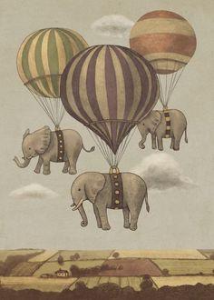 elephants balloons landscape vintage Animals