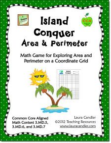 Free Island Conquer: Area and Perimeter Math Game - CCSS Aligned 3.MD.5, 3.MD.6, and 3.MD.7 - Also excellent as an area and perimeter math review game for grades 4 and 5