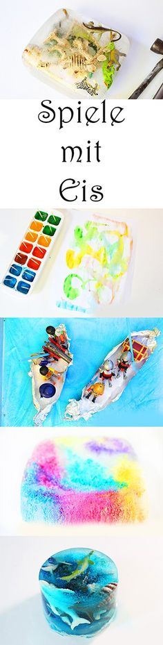 Spielen und Basteln mit Kindern im Sommer - 5 tolle Spiele mit Eis. Malen mit Eis. Piraten. Dino-Ausgrabung