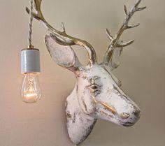 Deer Taxidermy Wall Light Vintage White-Gold by mysecretlite