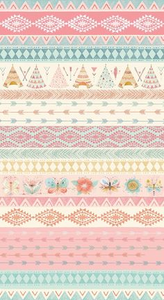 Modern Fabric-Teepee and Flower Cotton Fabric-Modern Quilting Fabric-Teepees-Arrows-Flowers-Butterflies-Blue-Brown-Pink To purchase more yardage you Cute Wallpapers, Wallpaper Backgrounds, Iphone Wallpaper, Background Vintage, Background Patterns, Bd Design, Modern Fabric, Cartoon Wallpaper, Scrapbook Paper