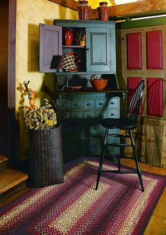 Primitive rugs for living room farmhouse decor stagger fanciful interesting kitchen rug shock carpets and rafters Primitive Living Room, Primitive Bathrooms, Primitive Homes, Primitive Furniture, Primitive Kitchen, Country Primitive, Prim Decor, Country Decor, Farmhouse Decor