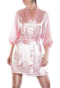 Morgenmantel Damen Negligee Kimono Dessous Nachtwäsche Satinmantel viele Farben, Grösse Accessoire:S;Farbe:Rosa