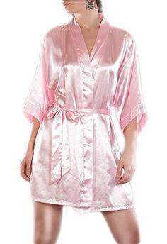 Morgenmantel Damen Negligee Kimono Dessous Nachtwäsche Satinmantel viele Farben, Grösse Accessoire:S;Farbe:Rosa