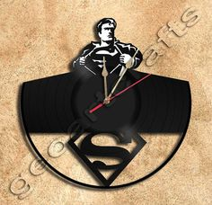 Wall Clock Superman Vinyl Record Clock Upcycled por geoartcrafts