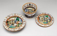 Childbirth bowls and tray from the workshop of Orazio Fontana, circa 1565-70 - Metropolitan Museum of Art