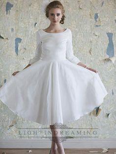Classic Vintage A-line 3/4 Length Sleeves Tea Length Wedding Dresses $199.99