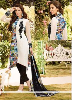 Make the heads flip the moment you dress up in this sort of a attractive white satin and georgette churidar salwar kameez. This attire is nicely designed with resham and print work. Comes with matchin...