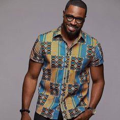 Kente Print Ankara Shirt for Men 2018 African Shirts For Men, African Clothing For Men, African Print Fashion, Africa Fashion, Ankara Fashion, African Clothes, African Prints, African Attire, African Wear