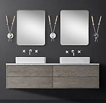 Bowen Double Floating Vessel Vanity - Wall Mount