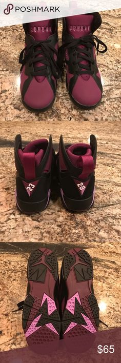 "Air Jordan sneakers Air Jordan 7 Retro Girls ""Mulberry"" Color: Black/Fuchsia Glow-Mulberry-Wolf Grey.     Never Worn Air Jordans  Shoes Sneakers"