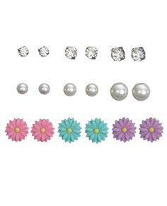 Rhinestone Pearl & Flower Earring 9-Pack | Wet Seal