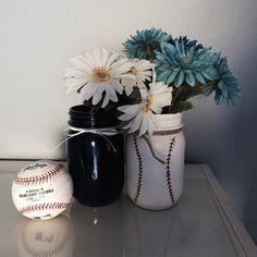 A personal favorite from my Etsy shop https://www.etsy.com/listing/273549946/navy-baseball-mason-jar-painted-mason
