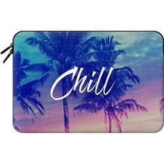 Pink Blue Palm Tree Sunset Beach Tropical Summer Chill Good Vibes... (810 ZAR) ❤ liked on Polyvore featuring accessories, tech accessories and macbook sleeve