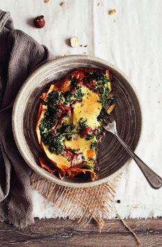 Skinny vegetarian lasagna with mushroom ragu, spinach and vegan bechamel sauce.