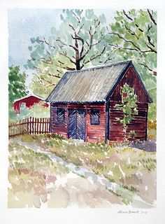 Kyrkstallet, akvarellmålning av Alicia Sivertsson - www.aliciasivert.se Watercolor Landscape, Arches, Landscapes, Cabin, House Styles, Home Decor, Art, Paisajes, Art Background