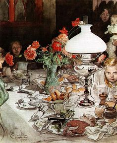 Carl Larsson, Around The Lamp, 1900