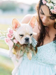 Have you ever seen something so adorable as this baby frenchie dressed up for a wedding?  We are in love! ❤ www.wed2b.co.uk