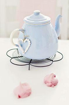 Blue enamel tea pot A Creative Handmade Home from Poland