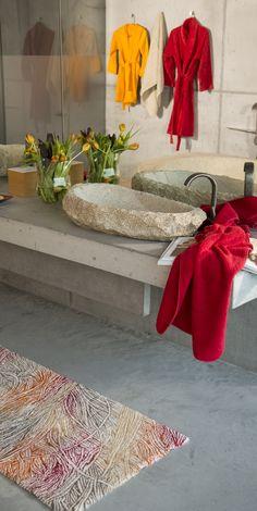 Abyss towels, robe and Habidecor Curry bath mat #luxury #spa #red #color #bath #custom #interior #design #ideas