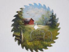 hand painted circular saw blade antique hay rake summertime scene Farm Paintings, Cool Paintings, Leaf Paintings, Horse Paintings, Decorative Paintings, Feather Painting, Tole Painting, Dog Face Drawing, Painted Leaves