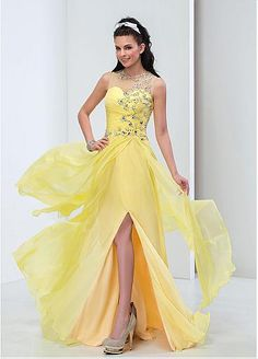 Junoesque Silk-like Chiffon Jewel Neckline A-line Prom Dresses With Beadings