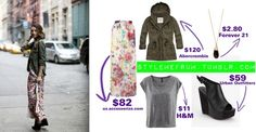 """A hint of flowers and a green military jacket makes this outfit scream """"SPRING""""!"""