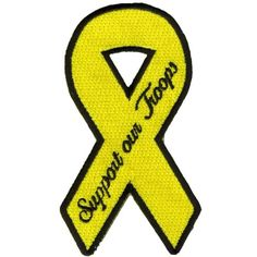 """Embroidered Iron On Patch - Yellow Support Our Troops Ribbon 4"""" x 2"""" Patch Good Sports,http://www.amazon.com/dp/B009R4XI8Q/ref=cm_sw_r_pi_dp_jp1stb1F0BX86JS8"""