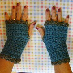 Teal Crochet Gloves Lacy Fingerless Wrist Warmers by GypsythatIwas, $16.00