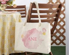 Watercolor Tote Bag With Rope Handles - Personalization Available | Kate Aspen
